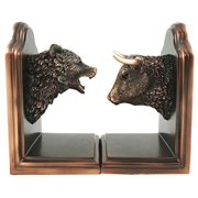 Wallstreet Stock Market Bull and Bear Head Bookends Bronze Electroplated Figurine Investors Gifts Money Managers