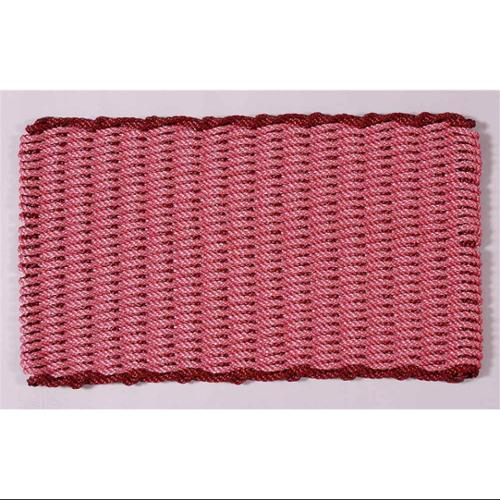 Brick Red w Burgundy Rectangular Handcrafted Doormat - Border (Cottage: 16 in. W x 26 in. L)