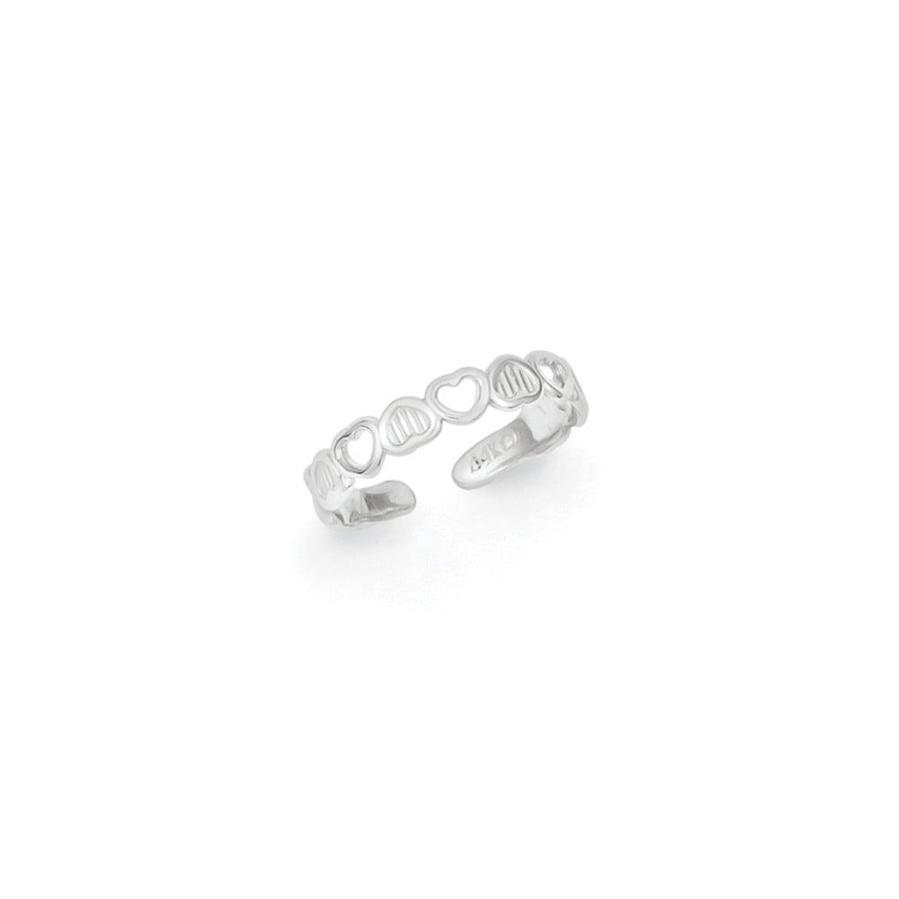 14k White Gold Polished Hearts Toe Ring