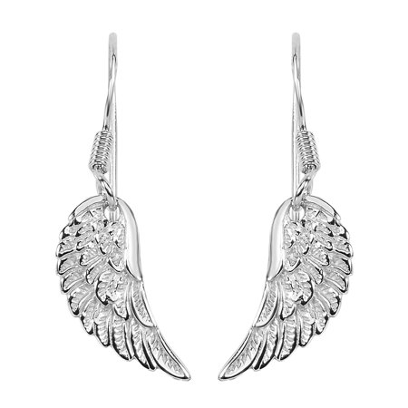 Sterling Silver Angel Wing Dangle Earrings - Angel Wings Earrings
