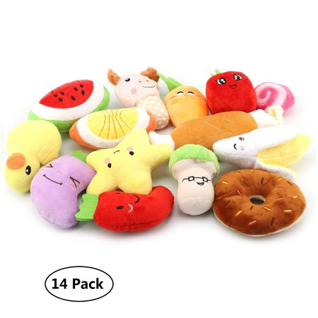Peroptimist 14 Pack Puppy Squeaky Plush Dog Toys Set for Small Dogs to Bite, Cute Plush Toys for Puppy Small Medium Dogs, Fruits and
