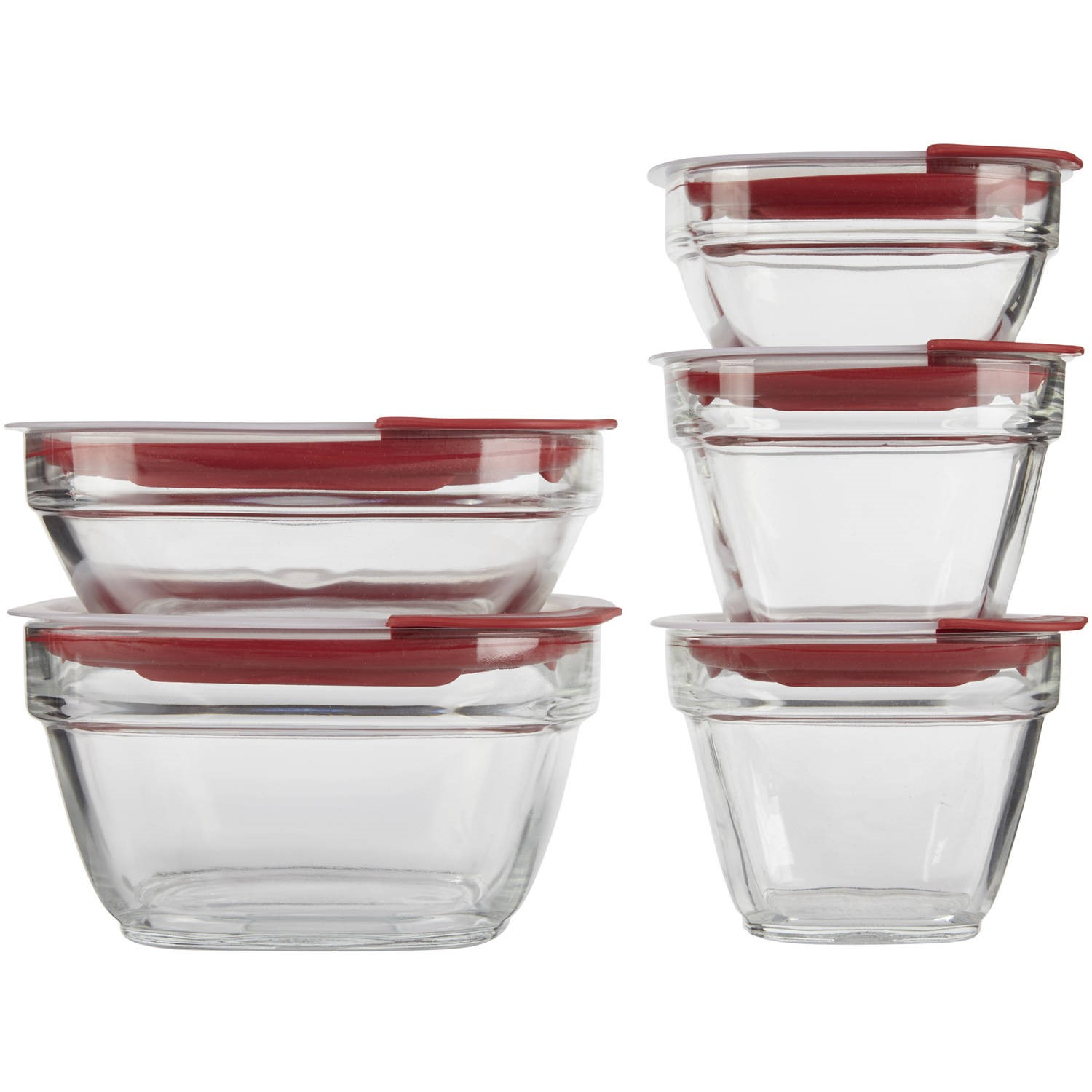 Rubbermaid Glass Food Storage Containers with Easy Find Lids Red
