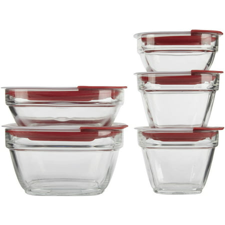 Rubbermaid Glass Food Storage Containers with Easy Find Lids, Red, 10 Piece Set