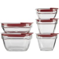 Rubbermaid Easy Find Lids Glass Food Storage and Meal Prep Containers, Set of 5 (10 Pieces Total)