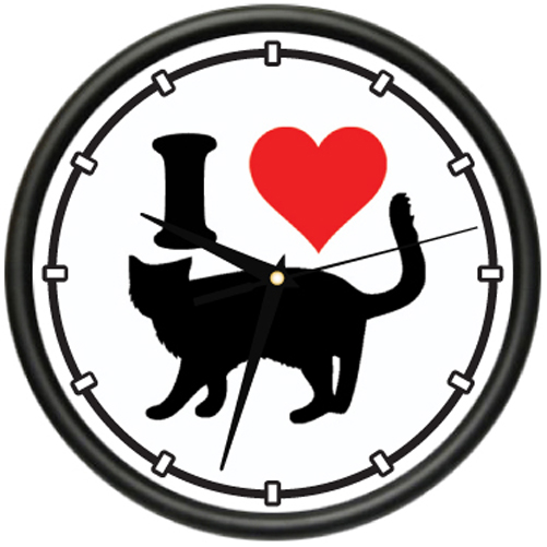 I LOVE CATS Wall Clock cats kitty pussy cat lover lady save rescue gag gift