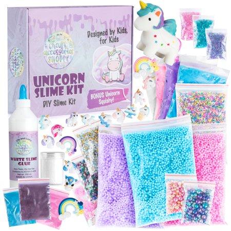 The Original Unicorn Slime Kit for Girls - Ultimate DIY Unicorn Slime Making Kit and Add Ins to Make Rainbow Unicorn Slime, Crystal Unicorn Slime, and Unicorn Poop Slime - Fun Unicorn Things for Girls - Rainbow Poop