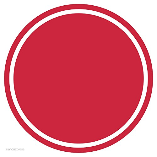 Red Solid Color Circle Gift Labels, 40-Pack