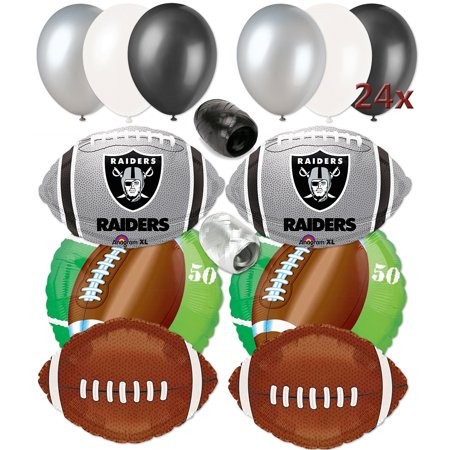 Oakland Raiders Football Party Decor Ultimate 32pc Balloon Pack Grey Black - Oakland Raiders Party Supplies