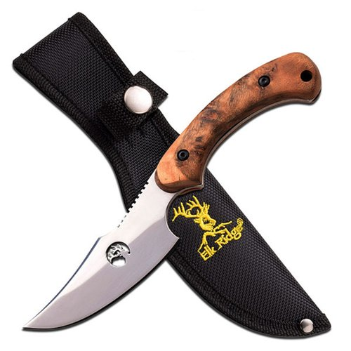 "Tom Anderson Fixed Blade, 8"" Burl Wood Handle with Sheath"