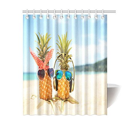 MYPOP Honeymoon Summer Beach of Tropical Island Decor, Funny Pineapples Wearing Sunglasses on the Beach Sand Fabric Bathroom Set with Hooks, 60 X 72 Inches Long, Blue Green Yellow - Cheap Funky Sunglasses