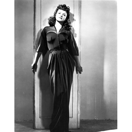 Jean Simmons Posed in Black Sheer Long Sleeve V-Neck Gathered Silk Dress with Left Hand on the Shoulder Photo Print