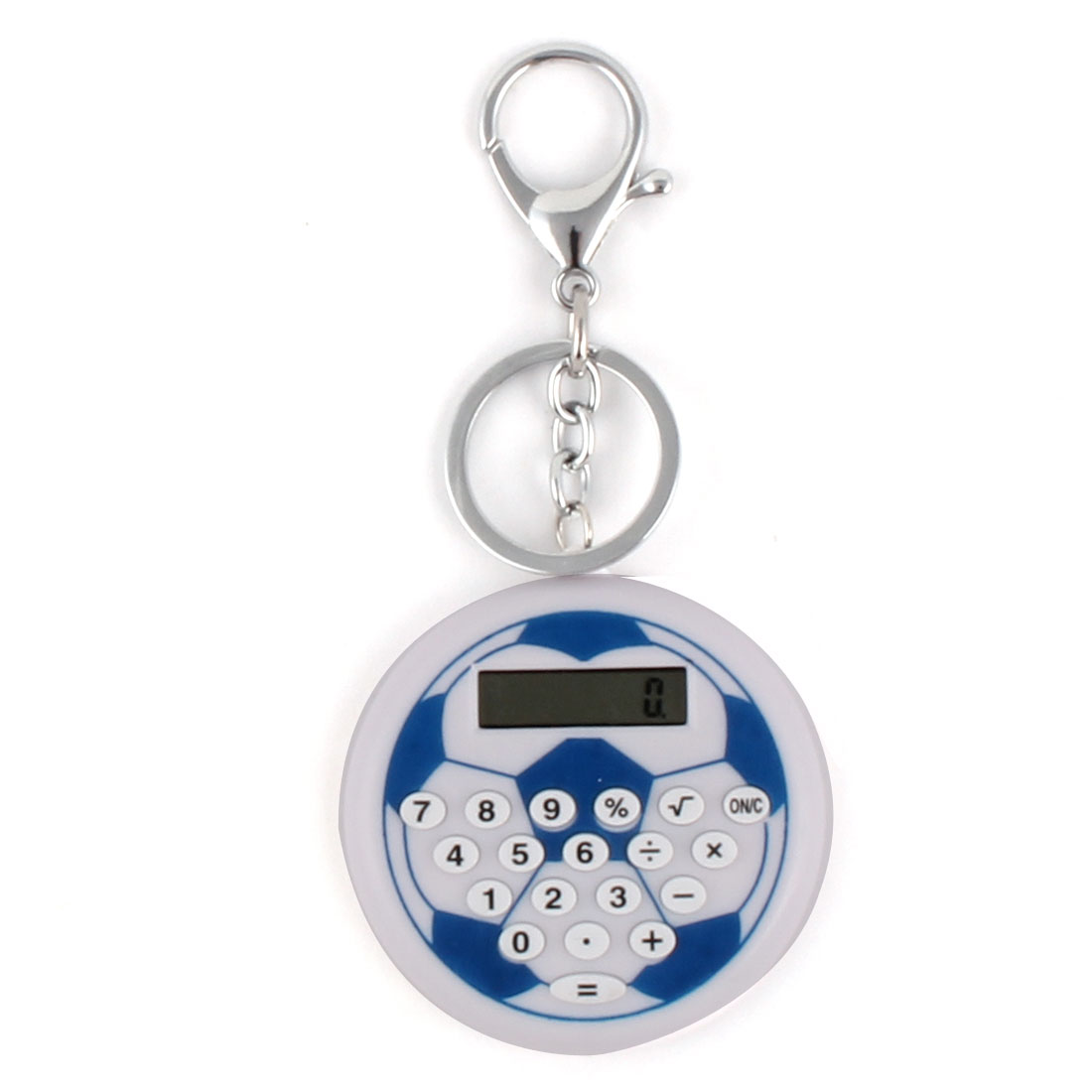 Unique Bargains LCD Display Football Pattern 8 Digit Pocket Portable Key Chain Ring Calculator