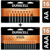 Duracell CopperTop Alkaline, 16 AA Batteries & 16 AAA Batteries Includes 1 Duracell Coppertop Alkaline, AA Batteries, 16 pack and 1 Duracell Coppertop Alkaline, AAA Batteries, 16 pack for a total of 16 AA batteries and 16 AAA batteries.