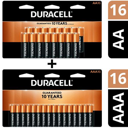 Duracell CopperTop Alkaline, 16 AA Batteries & 16 AAA Batteries Includes 1 Duracell Coppertop Alkaline, AA Batteries, 16 pack and 1 Duracell Coppertop Alkaline, AAA Batteries, 16 pack for a total of 16 AA batteries and 16 AAA batteries.