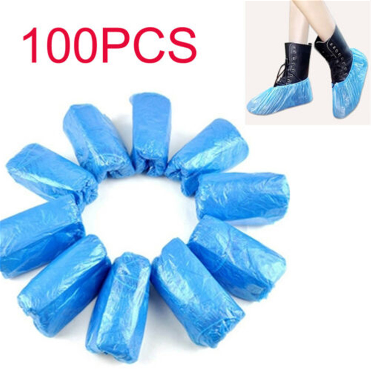 100Pcs Disposable Anti Slip Shoe Covers Cleaning Protective Overshoes Plastic