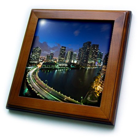 City Framed Tile (3dRose USA, Florida, Miami, elevated city skyline from Brickell Key, evening. - Framed Tile, 6 by 6-inch )