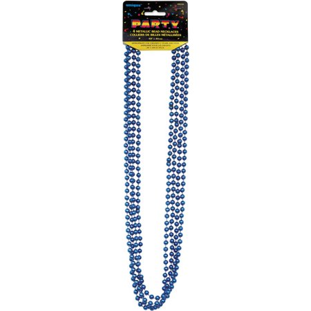 Metallic Mardi Gras Beads, 32 in, Blue, 4ct (Cheap Mardi Gras Beads In Bulk)