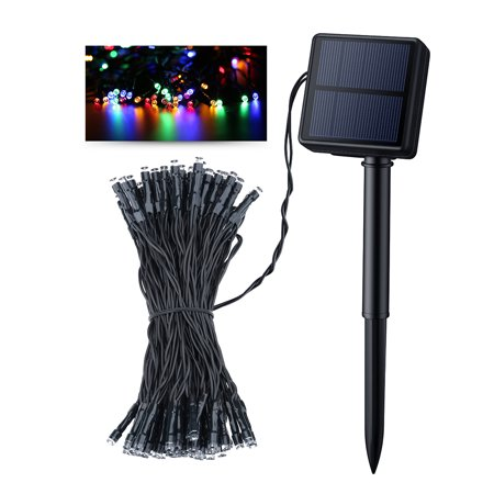 Litom Solar 100 LED String Lights 39.37ft Outdoor Waterproof Multi-Color Decorative Light with 8 Working Modes for Garden/Home/Party/Bedroom/Xmas/Outdoor Decorations