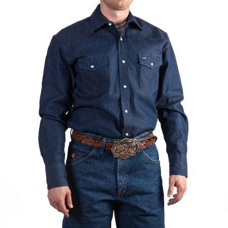 (Wrangler Apparel Mens  Blue Cotton Twill Buttondown Shirt)