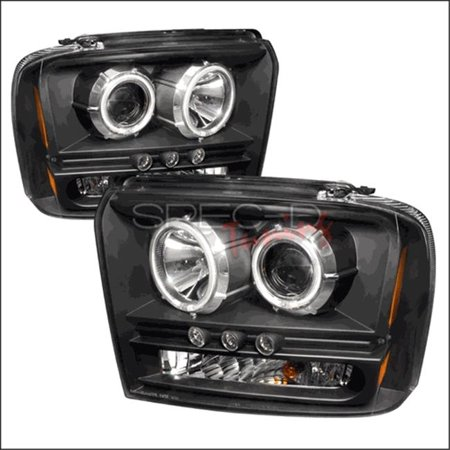 Spec-D Tuning 4LHP-F25005JM-KS CCFL Halo Projector Headlights for 05 to 07 Ford F350, 22 x 19 x 15 in. - Black - image 1 of 1