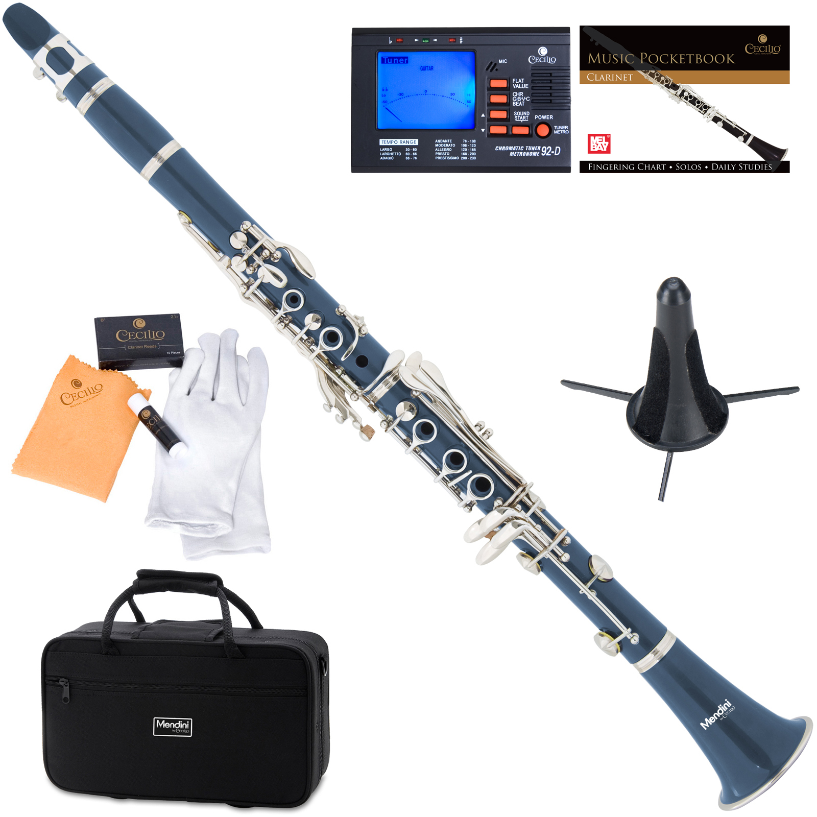 Mendini by Cecilio MCT-BL Blue ABS Bb Clarinet w/1 Year Warranty, Stand, Tuner, 10 Reeds, Pocketbook, Mouthpiece, Case, B Flat