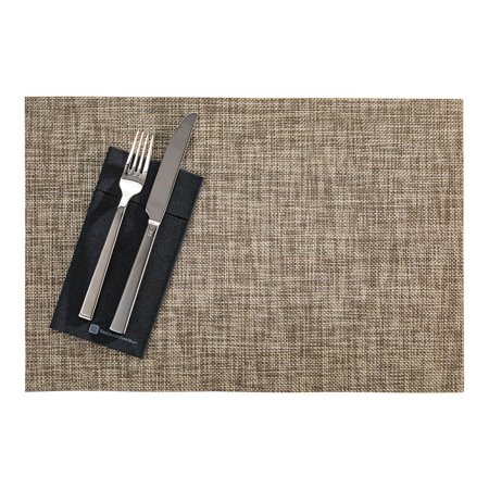 Carmel Mesh Smoked Gold Vinyl Woven Placemat - with White Threads - 16