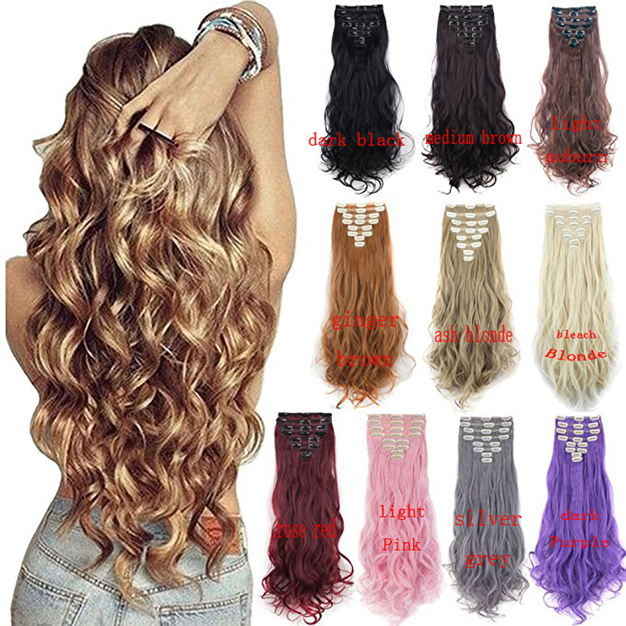 """FLORATA 24"""" Curly Wave Clips in Synthetic Hair Extensions Hair pieces for Women double weft 8 piece full head"""