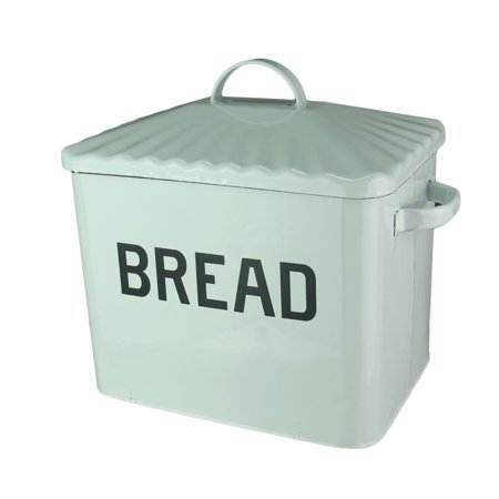 Bread Canister - Black and White Enamelware Metal Bread Box Canister