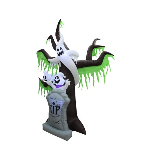 The Holiday Aisle Halloween Inflatable Grave Scene with Ghost and Tree
