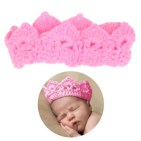 Foxnovo cute newborn infant baby girl boy handmade crochet knit crown hat photograph prop