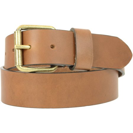 1-1/2 in. US Steer Hide Harness Leather Men's Belt with Antique Brass Finish Roller Buckle