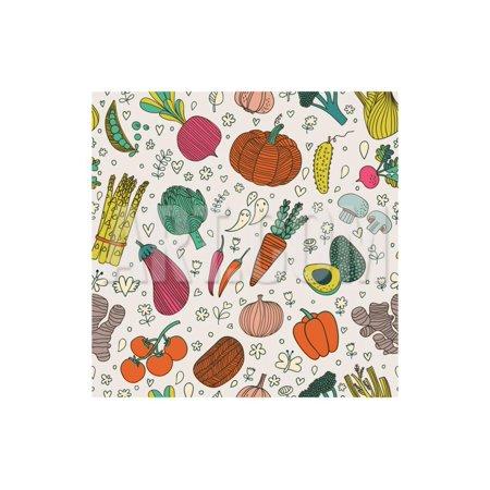 Bright Tasty Seamless Pattern with Green Peas, Eggplant, Potato, Carrot, Pumpkin, Avocado, Leek, Ra Print Wall Art By (Bright Pumpkin)