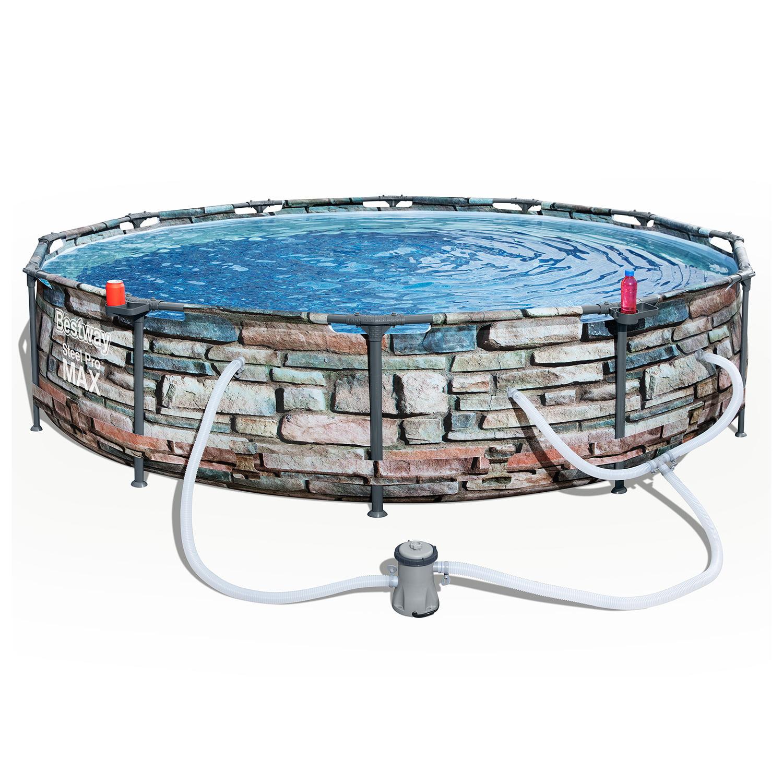 Bestway 12 X 30 Steel Pro Max Round Pool Set Stone Print Walmart Com Walmart Com