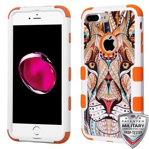 Apple iPhone 7 Plus Case - Wydan TUFF Hybrid Hard Shockproof Case Heavy Duty Protective Cover - Lion - Orange