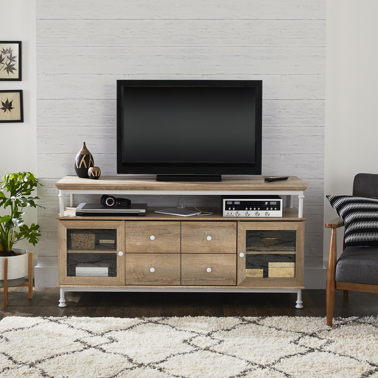 "Better Homes & Gardens River Crest TV Stand for TVs up to 60"", Light Oak Finish"