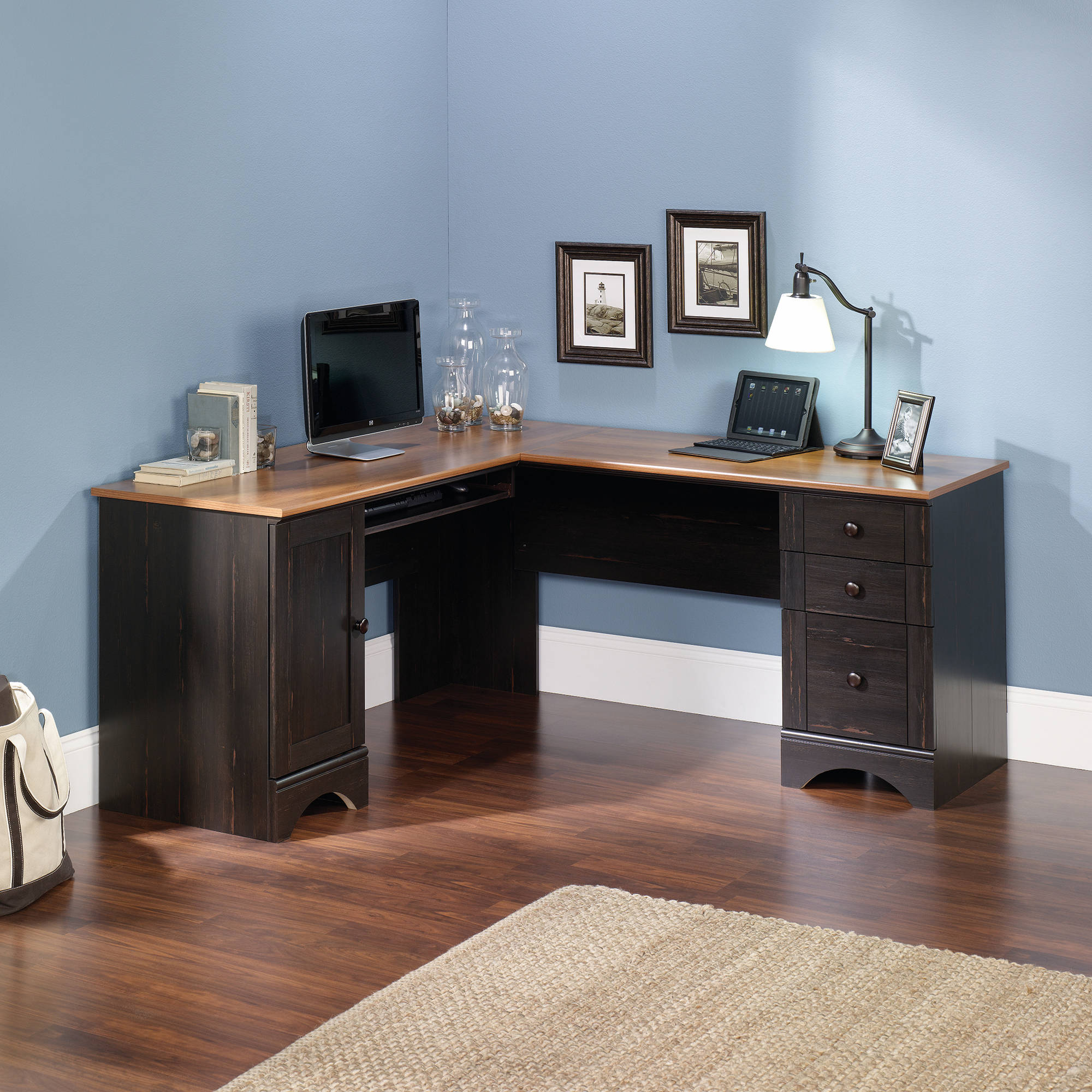 Sauder Harbor View Corner Computer Desk, Antiqued Paint Finish   Walmart.com