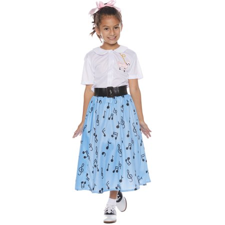 Blue 50s Skirt Set Child Halloween Costume (50s Halloween Decorations)