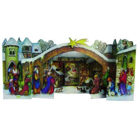 Wooden Nativity Advent Calendar (3D Christmas Nativity German Advent Calendar )