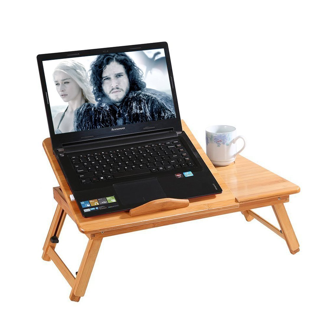 CharaVector Bamboo Lap Desk Adjustable Breakfast Serving Bed Tray Tilting Top Drawer