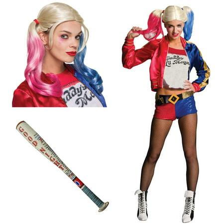 Suicide Squad: Harley Quinn Adult Costume Bundle Set - Large (Large Harley Quinn Costume)