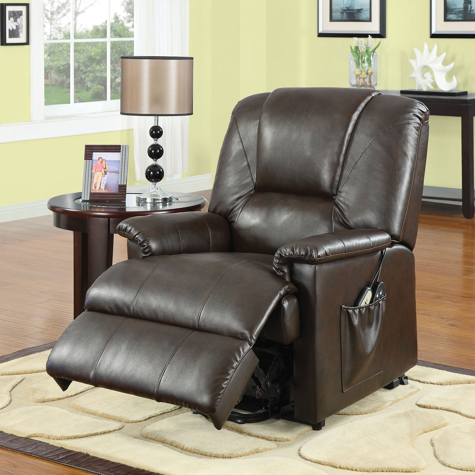 Acme Reseda Faux Leather Recliner with Power Lift and Massage by Acme Furniture