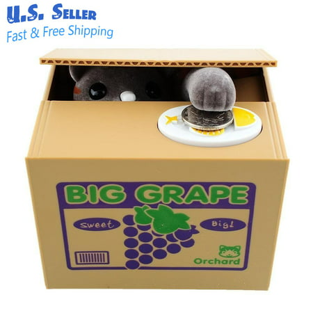 Funny Cat Stealing Coin to Money Grapes Box Kitty Bank Home Decor Gift New