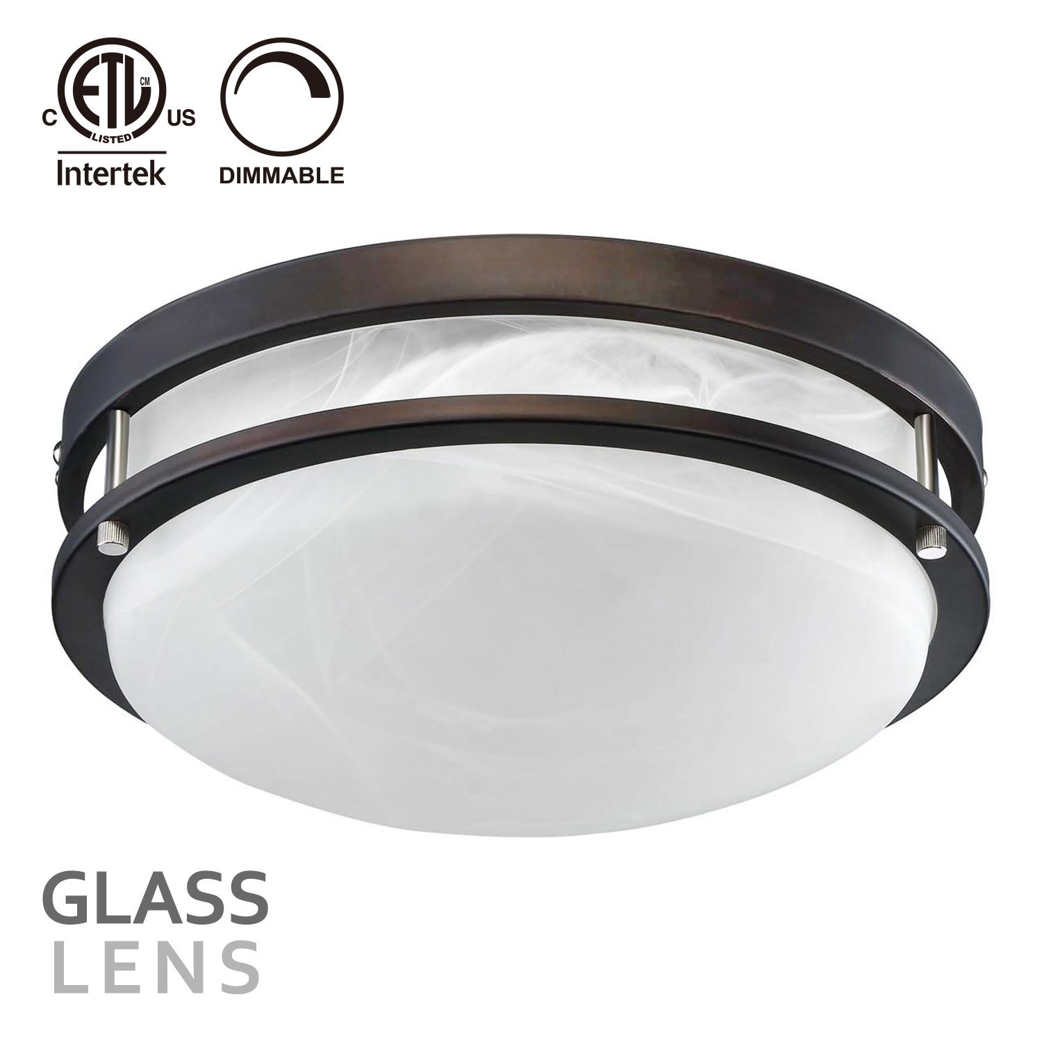 LEONLITE 12 Inch Glass Lens LED Flush Mount Ceiling Light, 18W(130W equivalent) 1200lm, 3000K Warm White, Oil Rubbed Bronze Finish for Living Room/Corridor/Hallway/Kitchen/Stairways