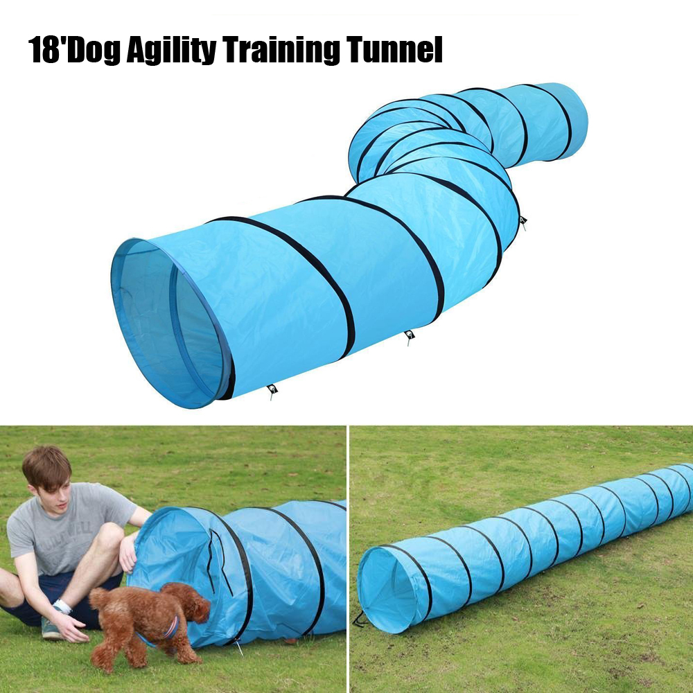 18' Dog Tunnel Portable Obedience Agility Training Chute Dog Supply Carrier Bag