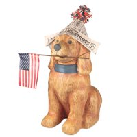 "Bethany Lowe 21"" Fourth July Dog Americana Paper Mache Retro Vintage Style Decor Figurine"