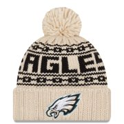 Philadelphia Eagles New Era Women's 2021 NFL Sideline Pom Cuffed Knit Hat - Cream - OSFA