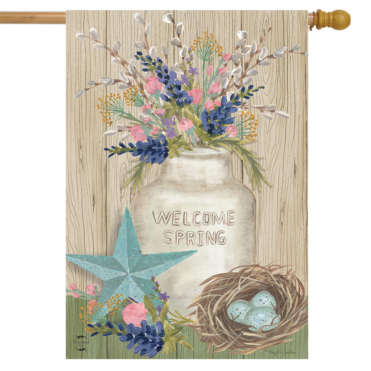 "Gifts of Spring Primitive House Flag Floral Mason Jar 28"" x 40"" Briarwood Lane"