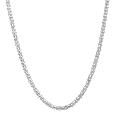 1 2.5mm High-Polished .925 Sterling Silver (Nickel Free) Round Popcorn Necklace, 15'-30' + Jewelry Cloth & Pouch