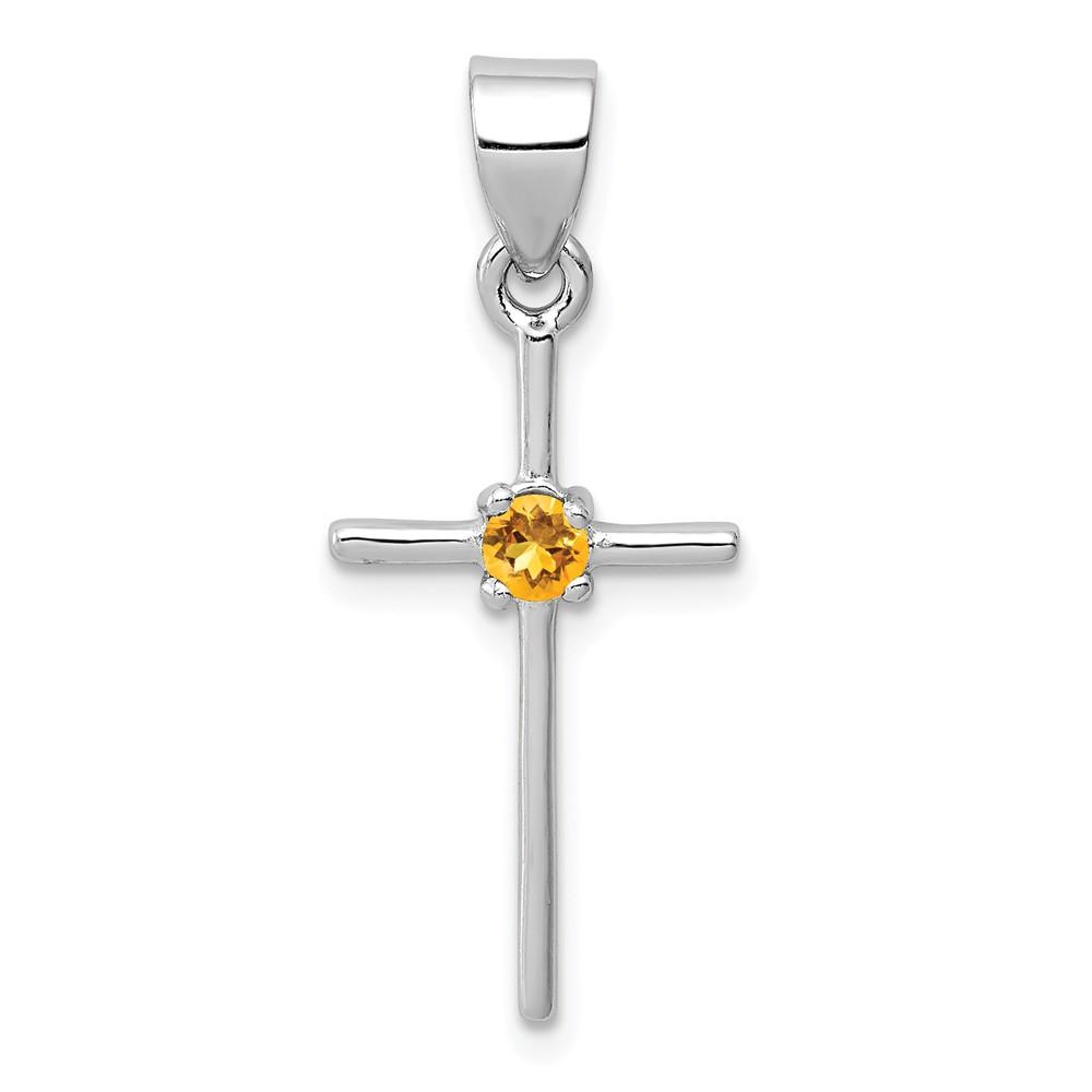 Sterling Silver Citrine Cross Pendant