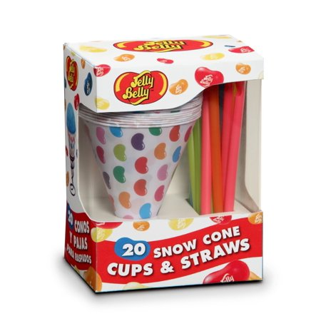 Jelly Belly JB15928 Disposable Snow Cone Cups and Straws Set of 20, Multicolored 1 Pack](Jello Halloween Cups)